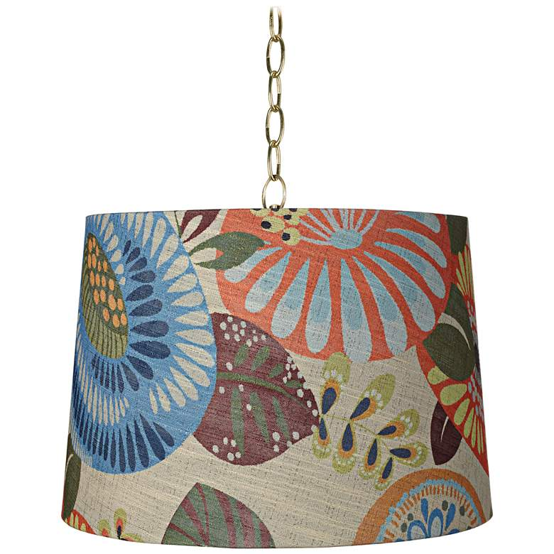 """Tropic Drum 16"""" Wide Antique Brass Shaded Pendant Light"""