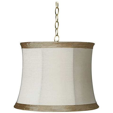 """Ivory Linen 16"""" Wide Antique Brass Shaded Pendant Light"""