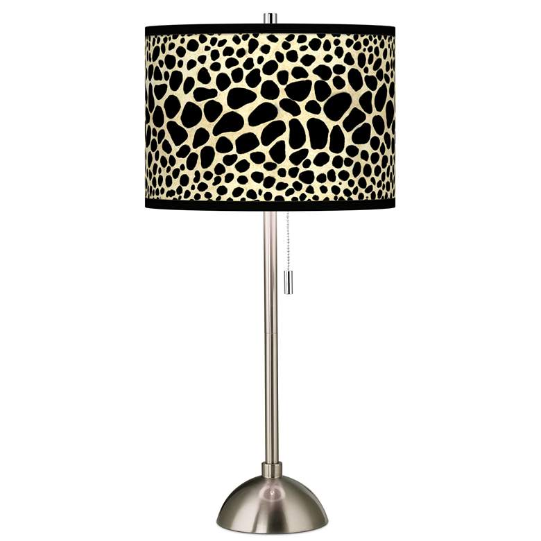 Leopard Giclee Brushed Nickel Table Lamp