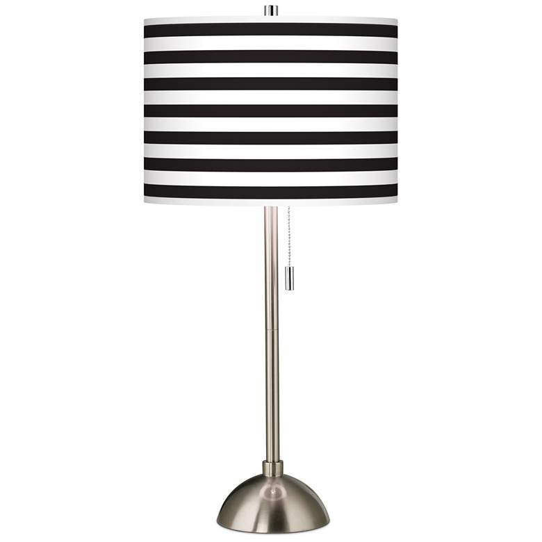 Giclee Black and White Horizontal Stripe Table Lamp