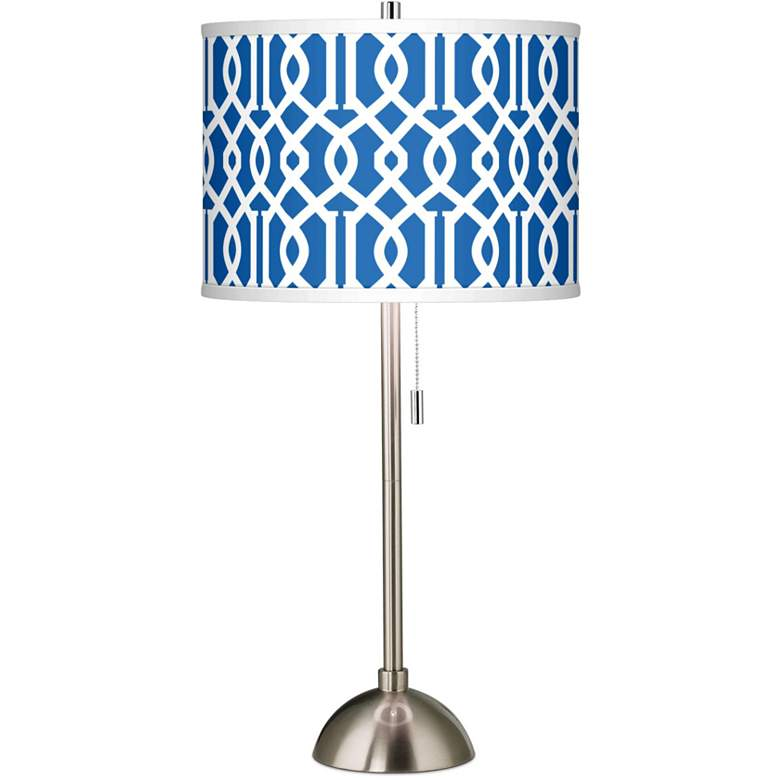 Chain Reaction Giclee Brushed Nickel Table Lamp