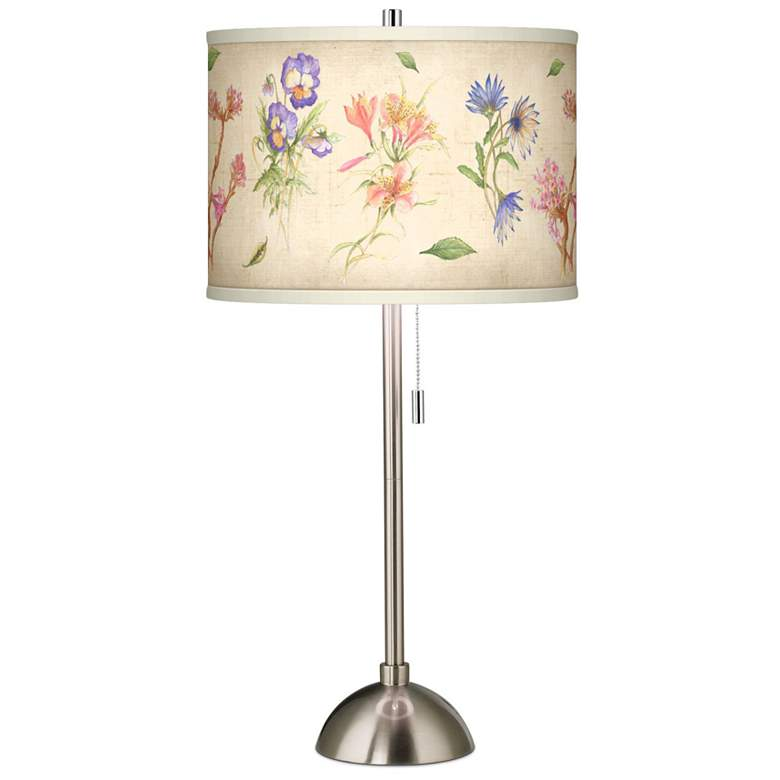 Floral Fancy Giclee Brushed Nickel Table Lamp