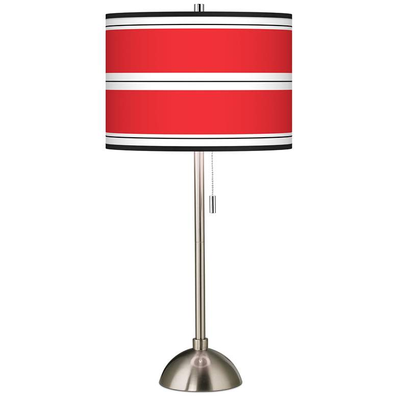 Red Stripes Giclee Shade Table Lamp