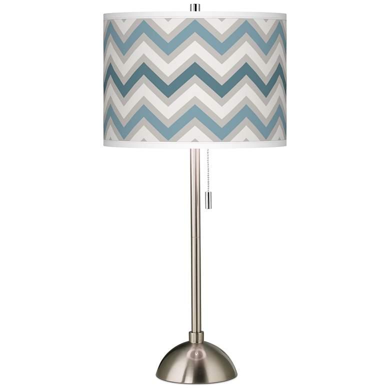 Wave Zig Zag Giclee Brushed Nickel Table Lamp