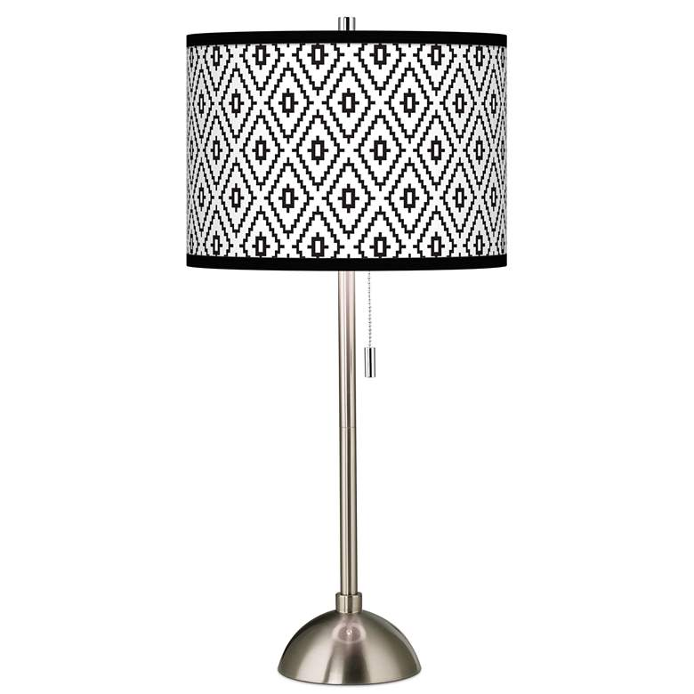 Black Diamonds Giclee Brushed Nickel Table Lamp