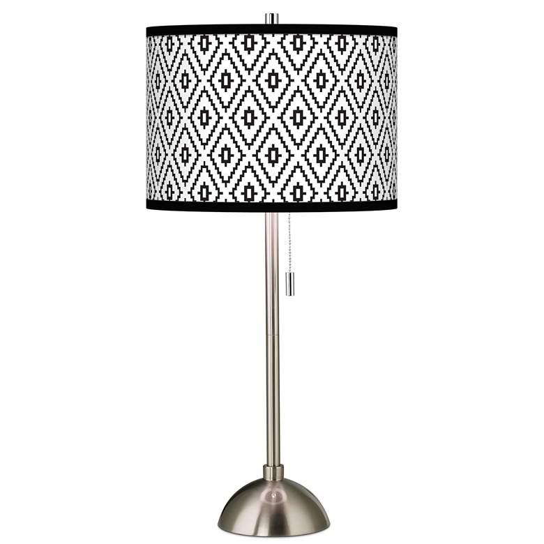 Black Diamonds Giclee Brushed Nickel Table Lamp