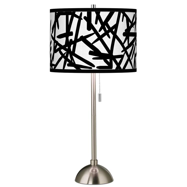 Sketchy Giclee Brushed Nickel Table Lamp