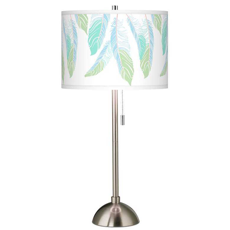 Light as a Feather Giclee Brushed Nickel Table Lamp