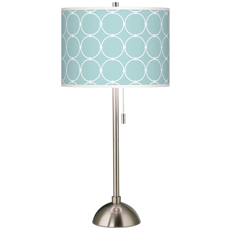 Aqua Interlace Giclee Brushed Nickel Table Lamp