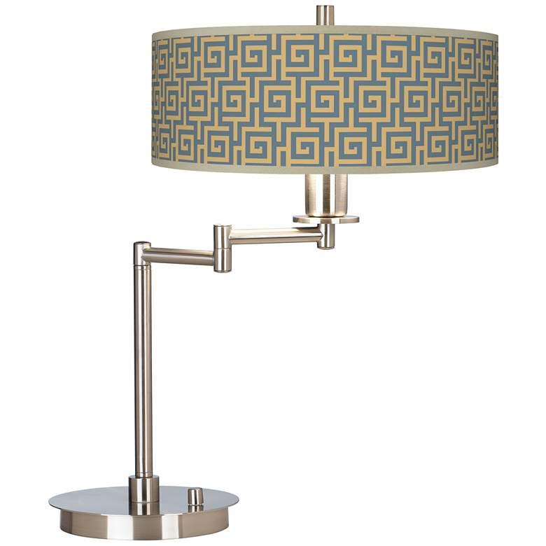 Greek Key Storm Giclee CFL Swing Arm Desk Lamp