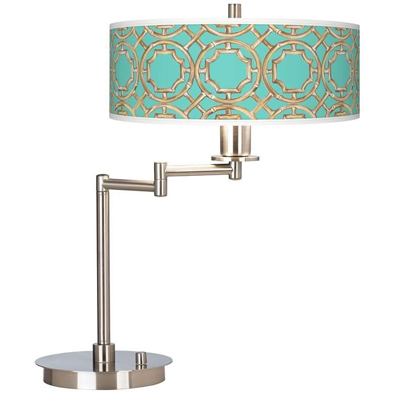 Teal Bamboo Trellis Giclee CFL Swing Arm Desk Lamp