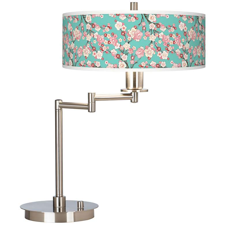 Cherry Blossoms Giclee Shade LED Swing Arm Desk Lamp