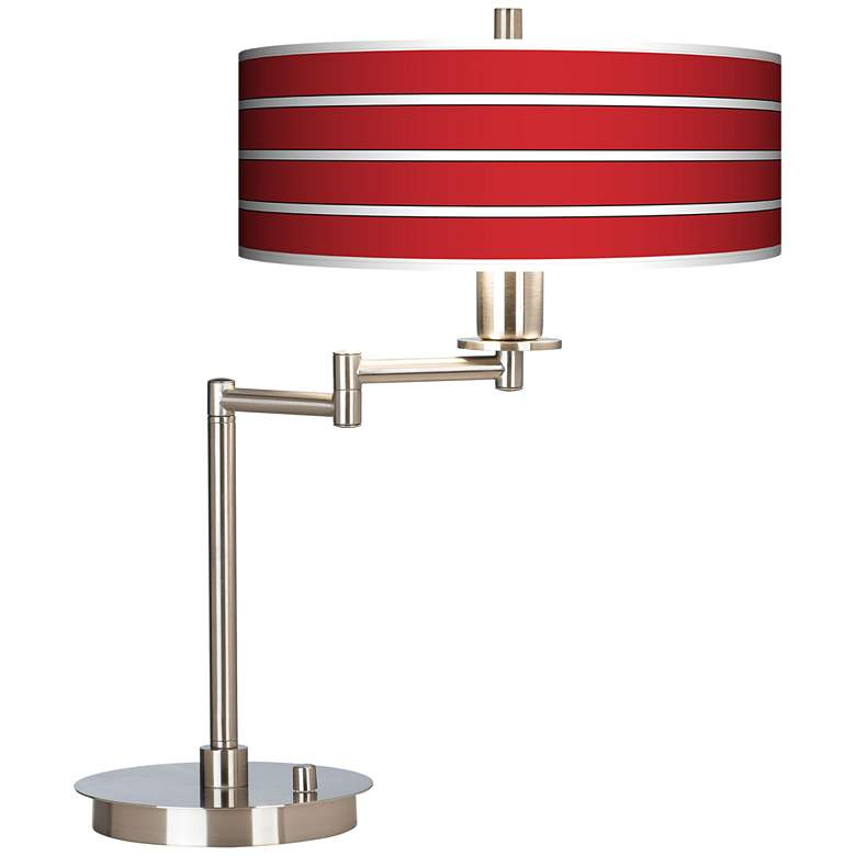 Bold Red Stripe Giclee Shade LED Swing Arm Desk Lamp