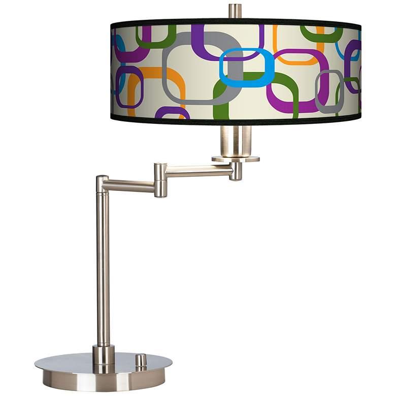 Retro Squares Scramble Giclee Shade LED Swing Arm Desk Lamp
