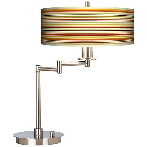 Stacy Garcia Lemongrass Stripe Giclee CFL Swing Arm Desk Lamp