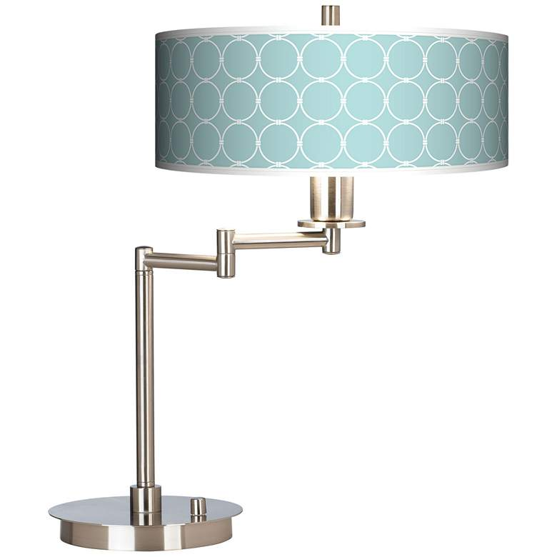 Aqua Interlace Giclee Swing Arm LED Desk Lamp