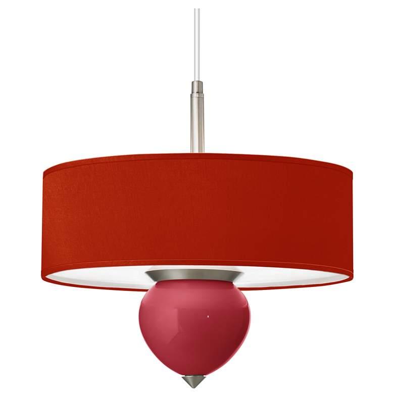 """Samba - China Red Textured Silk Shade Cleo 16""""W Pendant"""