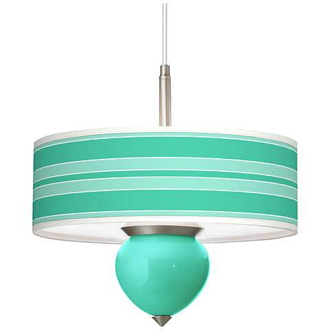 """Turquoise Bold Stripe Cleo 16"""" Wide Pendant Chandelier"""
