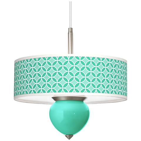 "Turquoise Circle Rings Cleo 16"" Wide Pendant Chandelier"