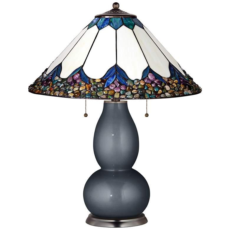 Fulton Lamp in Gunmetal Metallic with River Stone Shade