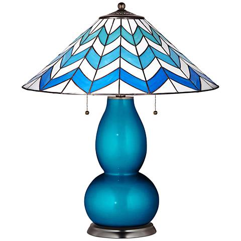 Fulton Lamp in Turquoise Metallic with Cascade Shade