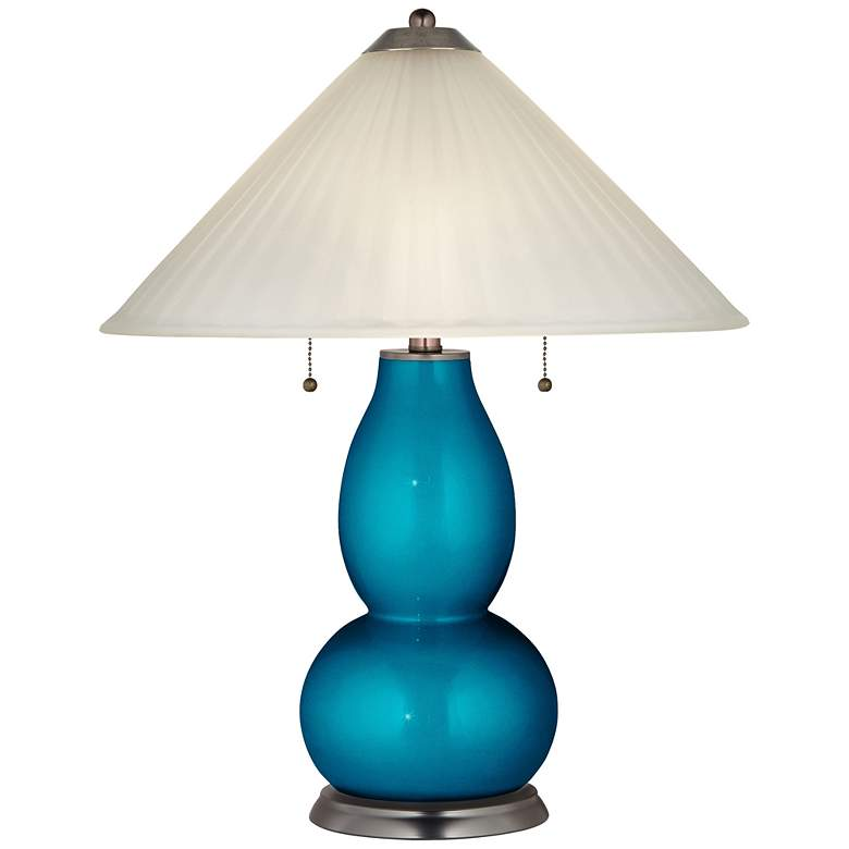 Baja Metallic Fulton Table Lamp with Fluted Glass Shade