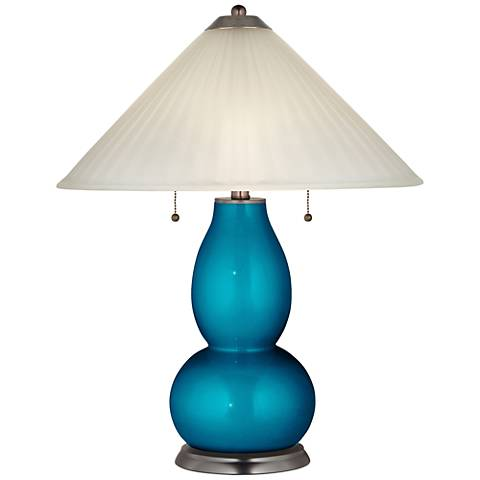 Turquoise Metallic Fulton Table Lamp with Fluted Glass Shade