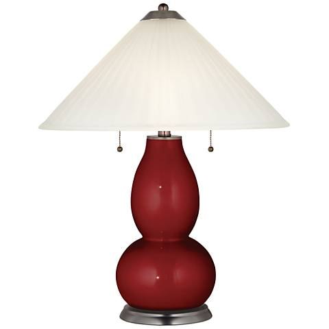 Cabernet Red Metallic Fulton Lamp with Fluted Glass Shade