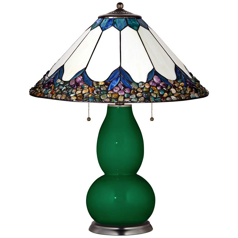 Fulton Table Lamp in Greens with River Stone