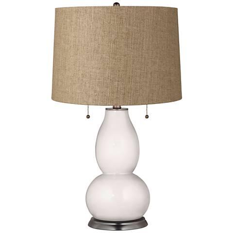 Smart White Tan Woven Fulton Table Lamp