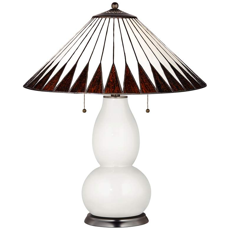Fulton Lamp in Winter White with Feather Geometric Shade