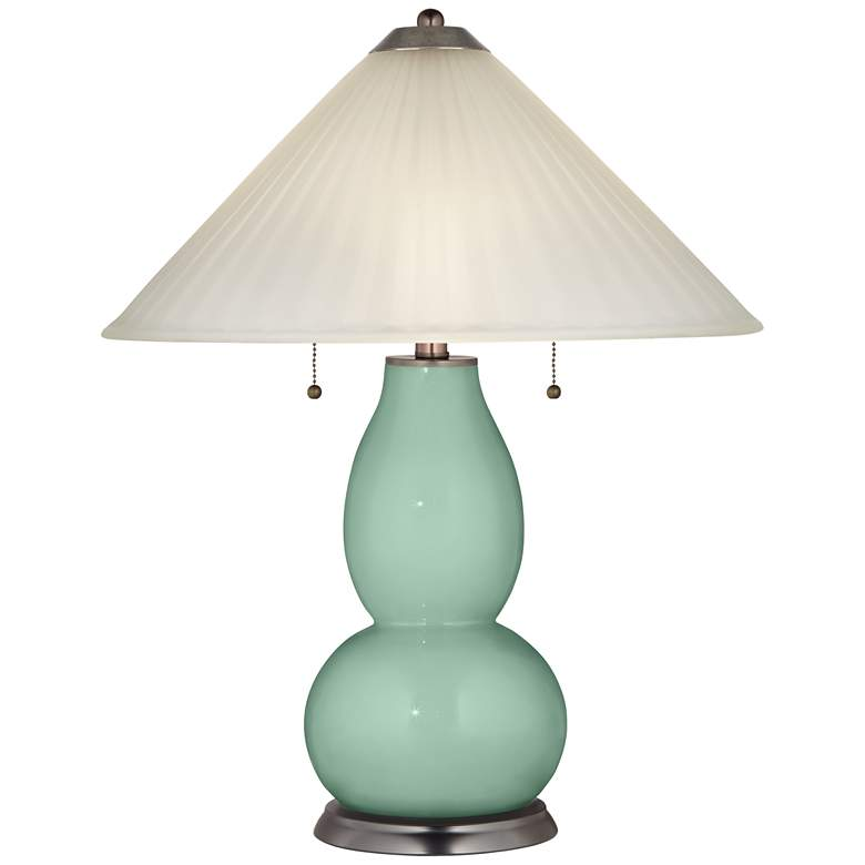 Grayed Jade Fulton Table Lamp with Fluted Glass Shade