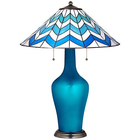 Clara Table Lamp in Turquoise Metallic with Cascade Shade