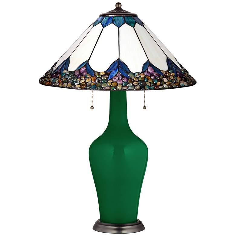 Clara Table Lamp in Greens with River Stone