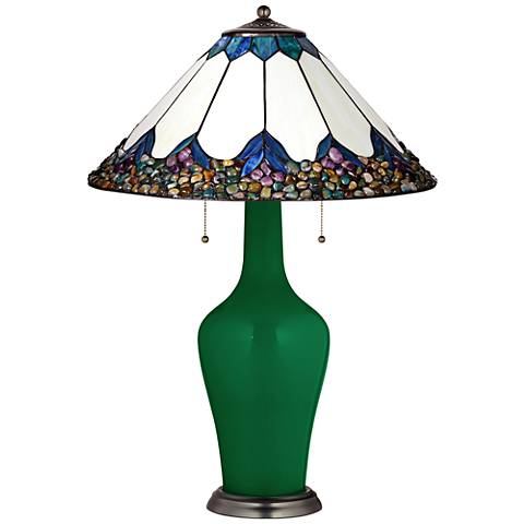 Clara Table Lamp in Greens with River Stone Shade