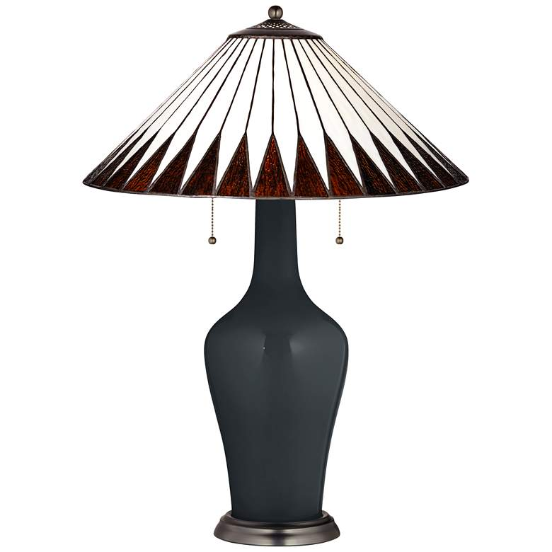 Tiffany Style Lamp with Black of Night Base and Feather Geometric Shade