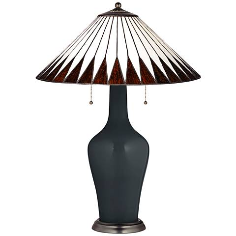 Clara Lamp in Black of Night with Feather Geometric Shade