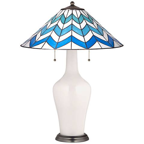 Clara Table Lamp in Smart White with Cascade Shade