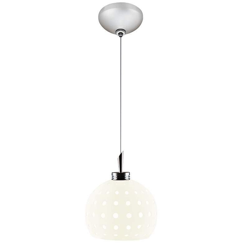 "Jesco Dotty 4 3/4"" Wide White Cut Globe Glass Mini Pendant"