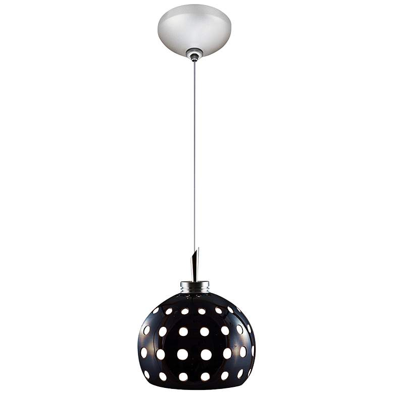 "Jesco Dotty 4 3/4"" Wide Black Cut Glass Mini Pendant"