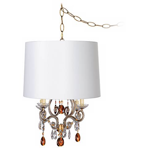 Leila Gold Designer White Shade Plug-In Swag Chandelier
