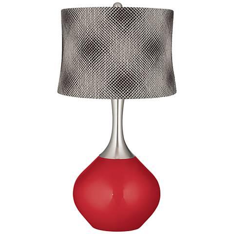 Sangria Metallic Black Pixels Shade Spencer Table Lamp