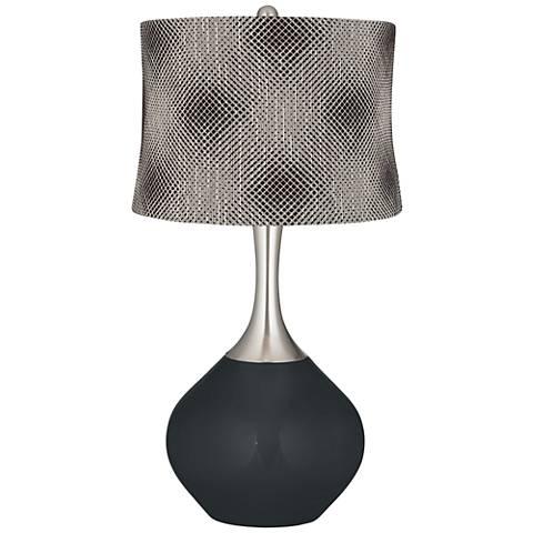 Black of Night Black Pixels Shade Spencer Table Lamp