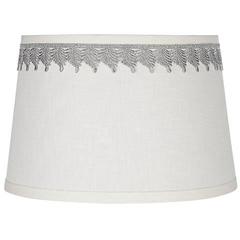 White Linen Shade with Silver Leaf Trim 10x12x8 (Spider)