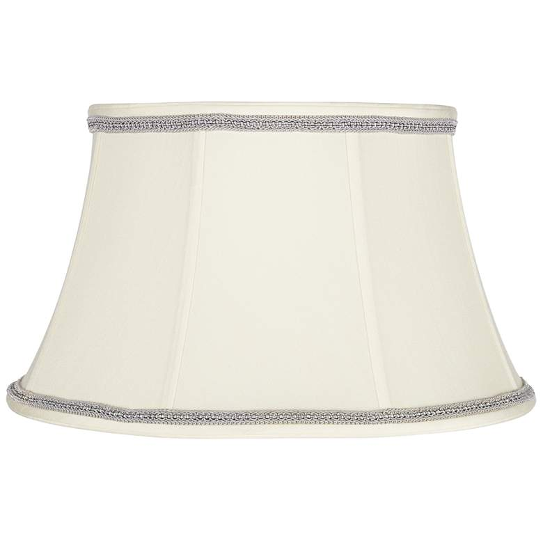 Creme Bell Shade with Gray Ribbon Trim 13x19x11 (Spider)