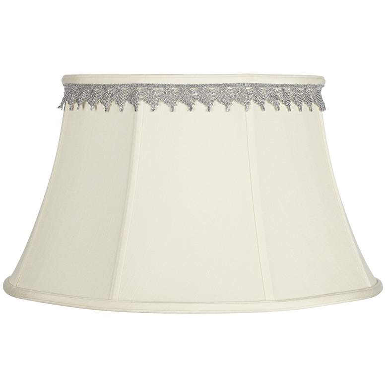 Creme Bell Shade with Silver Leaf Trim 13x19x11