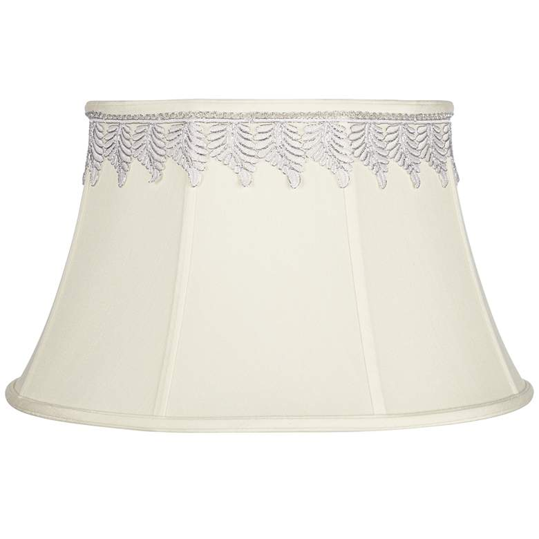 Creme Bell Shade with Metallic Leaf Trim 13x19x11