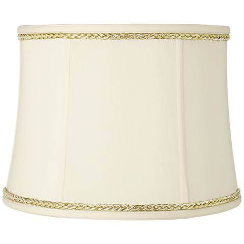 Drum Shade with Gold and Gray Twist Trim 14x16x12 (Spider)