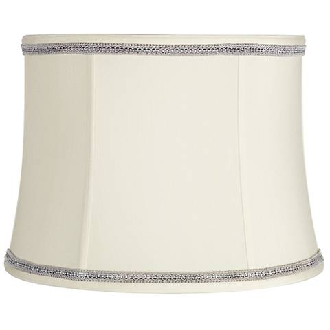 Creme Drum Shade with Gray Ribbon Trim 14x16x12 (Spider)