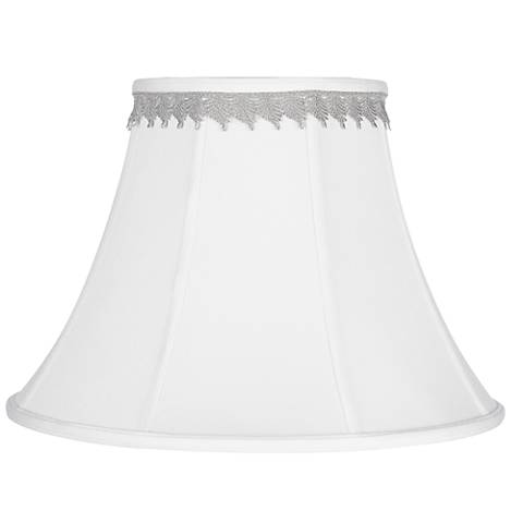 White Bell Shade with Silver Leaf Trim 9x18x13 (Spider)